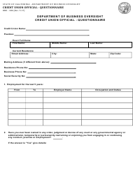 Form DBO-380 Credit Union Official - Questionnaire - California