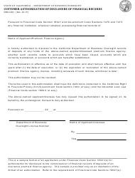 Form DBO-1821 Customer Authorization of Disclosure of Financial Records - California