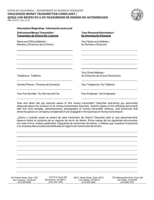 Form DBO2120 SP  Printable Pdf