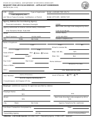 Form DBO-8016 Request for Live Scan Service - Applicant Submission - California