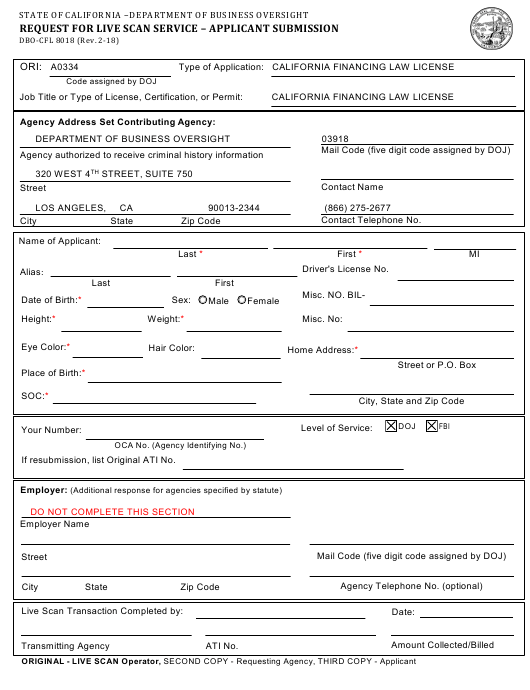 Form DBO-CFL 8018 Download Fillable PDF, Request for Live Scan