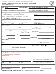 Form DBO-CFL 8018 Request for Live Scan Service - Applicant Submission - California