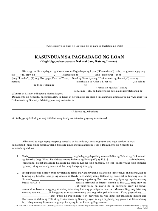 """Loan Modification Agreement (Providing for Fixed Interest Rate)"" - California (Tagalog) Download Pdf"
