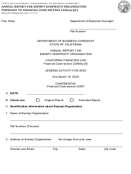 "Form DBO-CFL22066(C)(5) ""Annual Report for Exempt Nonprofit Organization Pursuant to Financial Code Section 22066(C)(5)"" - California"
