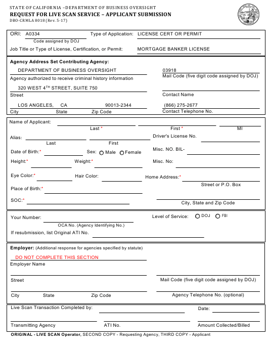 Form DBO-CRMLA 8018 Download Fillable PDF, Request for Live