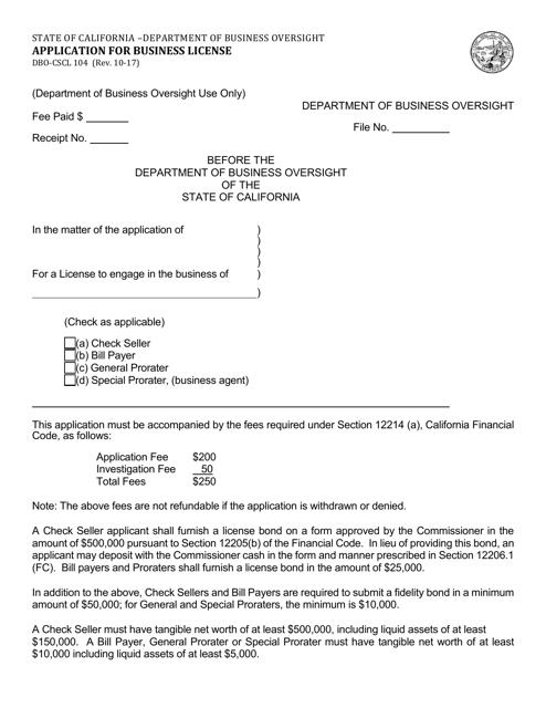Form DBO-CSCL104  Printable Pdf