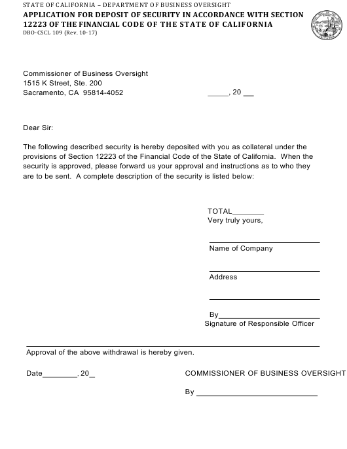 Form DBO-CSCL109  Printable Pdf