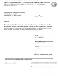 Form DBO-CSCL 109 Application for Deposit of Security in Accordance With Section 12223 of the Financial Code of the State of California - California