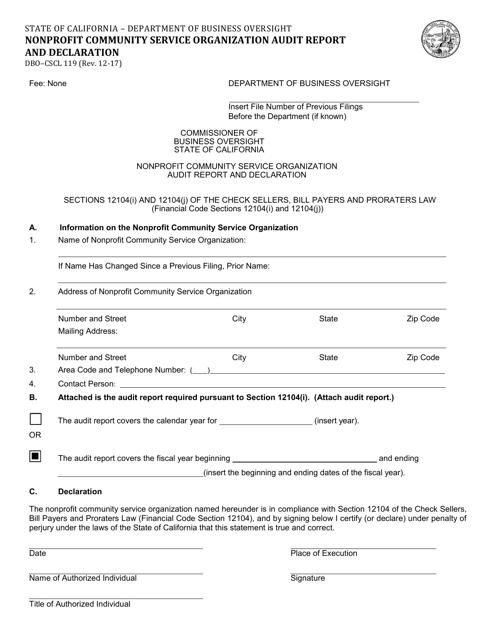 Form DBO-CSCL119  Printable Pdf