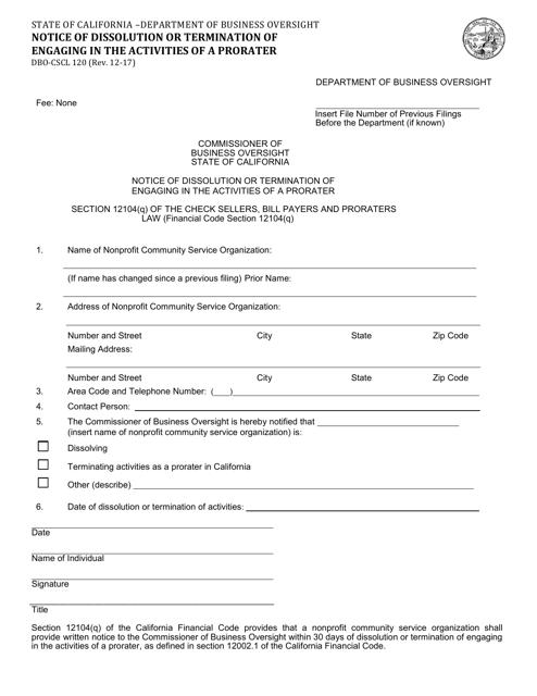 Form DBO-CSCL120  Printable Pdf