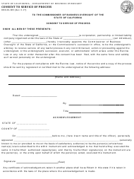 Form DBO-EL 805 Consent to Service of Process - California
