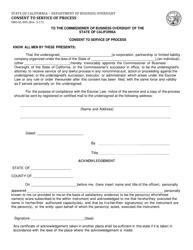 Form DBO-EL 805 Consent to Service of Process - California
