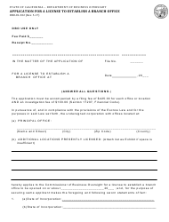 Form DBO-EL 302 Application for a License to Establish a Branch Office - California