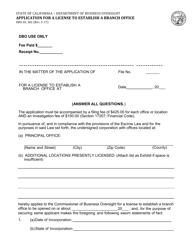 Form DBO-EL 302 Application for a License to Establish a Branch Office - California
