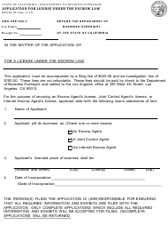 Form DBO-EL 301 Application for License Under the Escrow Law - California