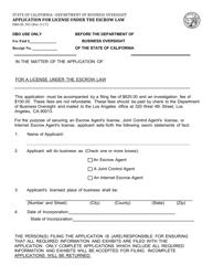 Form DBO-EL 301 Application for License Under the Escrow Law - California