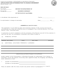 Form DBO-EL 326 Application for Authorization to Change Ownership - California