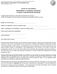 Form DBO-SLS 100 Supplemental Request for Information - Student Loan Servicing Program - California