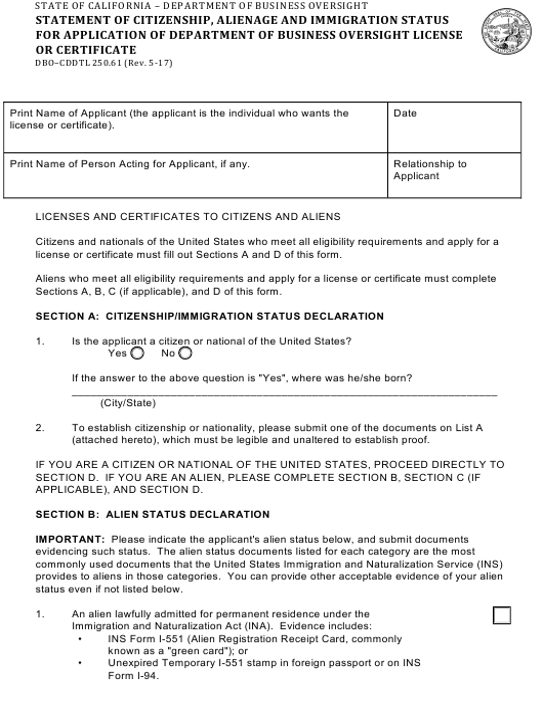 Form DBO-CDDTL250.61  Printable Pdf