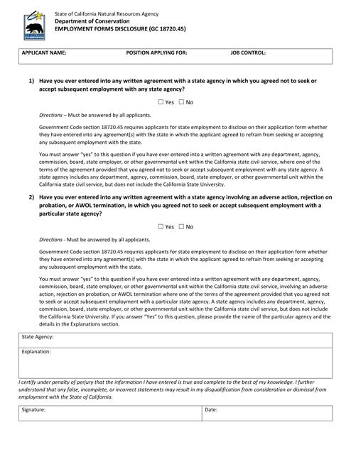 """Employment Forms Disclosure"" - California Download Pdf"
