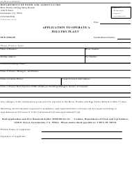 Form 79-003A Application to Operate a Poultry Plant - California