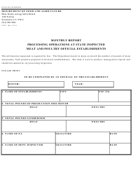 Form 79-071 Monthly Report Processing Operations at State Inspected Meat and Poultry Official Establishments - California