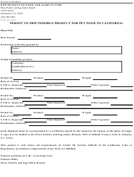Form 79-013 Permit to Ship Inedible Product for Pet Food to California - California