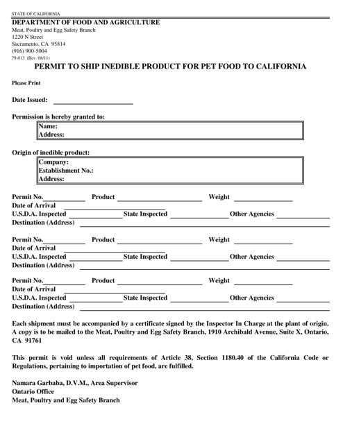 Form 79-013 Printable Pdf