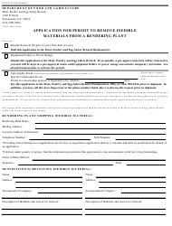 Form 79-018 Application for Permit to Remove Inedible Materials From a Rendering Plant - California
