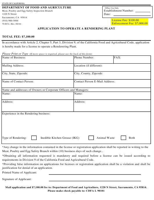 Form 79-007A  Printable Pdf