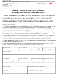Form 79-124 Ikg Manifest Instructions and Receiving Facility Information - California