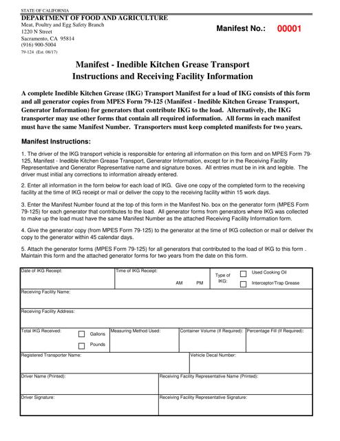 Form 79-124 Printable Pdf