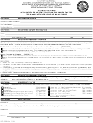 Form HCD 475.9 Disabled Veteran Application for Exemption From the in Lieu Tax Fee for Manufactured Home or Mobilehome - California