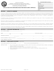 Form HCD OL ED 129 Application for Continuing Education Equivalency Approval - California