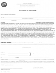 Form HCD OL 28 Certificate of Appointment - California