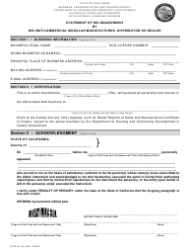 Form HCD OL 49 Statement of Relinquishment by Mh-Unit/Commercial Modular Manufacturer, Distributor or Dealer - California