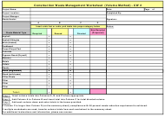 "Form CW2 ""Construction Waste Management Worksheet (Volume Method)"" - California"