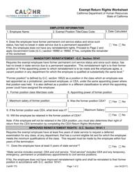 Form CALHR 770 Exempt Return Rights Worksheet - California