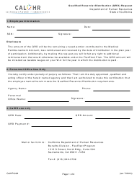 Form CALHR 902 Qualified Reservist Distribution (Qrd) Request - California