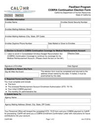 Form CALHR 689 Cobra Continuation Election Form - Flexelect Program - California