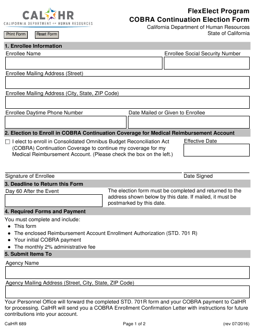 Form CALHR689  Printable Pdf