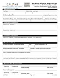Form CALHR 684 Hire Above Minimum (Ham) Request for Extraordinary Qualifications Documentation - California