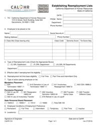 Form CALHR 016 Establishing Reemployment Lists - California