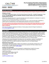 Form CALHR 682 Pre-tax Parking/Third-Party Administrator/ Reimbursable Account Enrollment - California