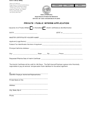"Form A-3A ""Private / Public Interim Application"" - California"