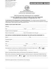 """Form a-1 """"Application for Certificate of Consent to Self-insure as a Private Employer Self-insurer"""" - California"""