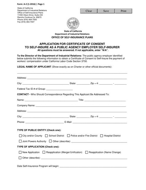 Form A-2  Printable Pdf