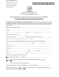 Form S-1 Group Master Application for Certificate of Consent to Self-insure as a Group Self-insurer - California