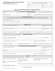 DLSE Form DLSE-PW 1 Reclamo De Trabajadores De Obras Publicas - California