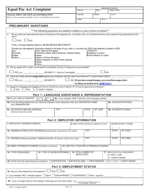 Form EPA-1 Printable Pdf